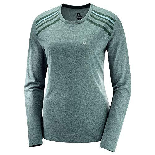 Salomon T-shirt de Sport à Manches Longues pour Femme, COMET CLASSIC LS TEE W, Polyester, Vert (Green Gables), Taille S, LC1153700