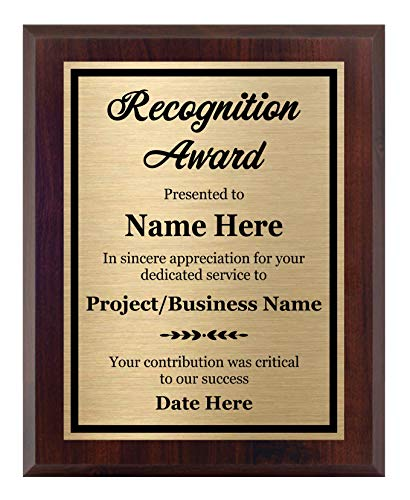 Recognition Plaque 8x10 - Personalized Award, Customize Now!