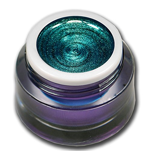 RM Beautynails Premium UV Metallic Glittergel Jewel Collection Turmalin Grün-Blau 5ml UV-Gel Profifarbgel kein absenken der Pigmente sehr hohe Deckkraft