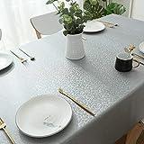 All--In Tischdecke Ölbeständigt Bügelfrei Tischtuch Wasserdicht Kratzfes PU Plastik Eckig Wachstuchtischdecke für Esstisch Couchtisch Dekorativer Tisch(Grau, 120 x 180 cm) - 6
