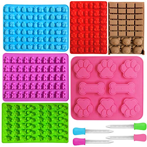 6 PCS Silicone Candy Molds with 4 Bonus Droppers Perfect for Gummy Bear Candy,Chocolates, Ice Cubes,BPA Free