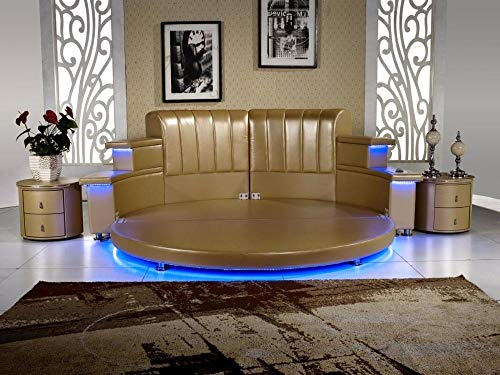 Great Features Of Modern Genuine Leather King Bedroom with Led, Speaker, Round Soft Bed