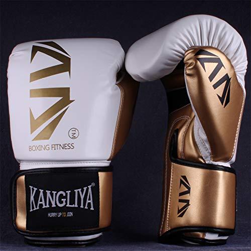 Allen Boxhandschuhe 6 Unzen - 12 Unzen Boxsack Kampf Muay Thai Grappling Kampf Mitts Martial Arts Training Kickbox Punching-Handschuh, geeignet für Kinder und Erwachsene,Weiß,10oz
