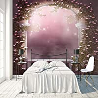 3D巨大な壁紙 赤い花 巨大な壁紙 不織布3Dアートモダンポスター画像リムーバブルDIYリビングルームカスタマイズ可能なサイズ壁画壁装飾 350X250cm (137X98inch)