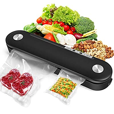 2021 New Vacuum Sealer Machine, Automatic Food Sealer, Vacuum Air Sealing System with 10 Vacuum Sealing Bags, Dry Moist Food Modes, Easy to Clean, Compact Design for Food Savers from