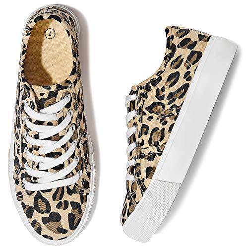 Adokoo Damen Plateau Sneaker Leopard Schuhe Süße Schuhe, (leopard), 39 EU