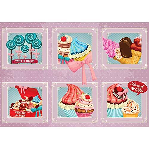 Vlies Fototapete 416x254cm PREMIUM PLUS Wand Foto Tapete Wand Bild Vliestapete - Kunst Tapete Bilderrahmen Eiscreme Donuts Cupcakes Lolli Süßware rosa - no. 1501