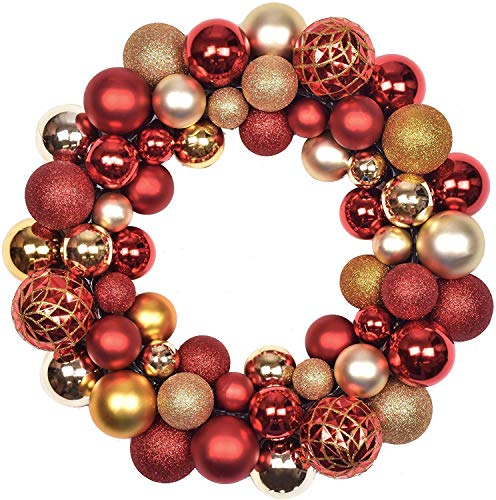 Christmas Baubles Wreath, Red And Gold Shatterproof Christmas Ball Ornaments, Christmas Garland Decoration for Home Door Wall Fireplace 13Inch/34Cm