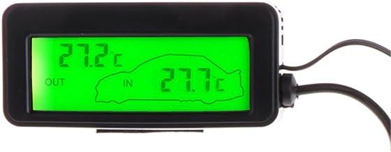 Mini term/ómetro digital para coche con pantalla LCD para interiores y exteriores sensor de cable Fogun 12 V 1,5 m