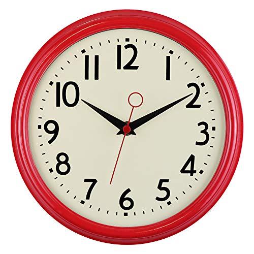 Foxtop Retro Silencioso Grandes Decorativos Cuarzo Redondo Reloj de Pared sin Tic TAC para Cocina Dormitorio, Ø: 23 cm, Rojo