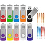 Flash Drive 32GB 10 Pack Multicolor with Lanyards USB 2.0 32 GB Bulk Thumb Drive Memory Stick Swivel Jump Drive with LED Light for Data Storage by MOSDART