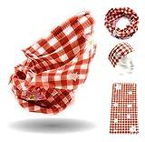 Trachten Edelweiss Tuch Multifunktionstuch Halstuch rot kariert Edelweiss Bandana Lederhose Oktoberfest Loop Bayerisches Schlauchtuch Bayerischer Mundschutz für Männer und Frauen Bayern Maske