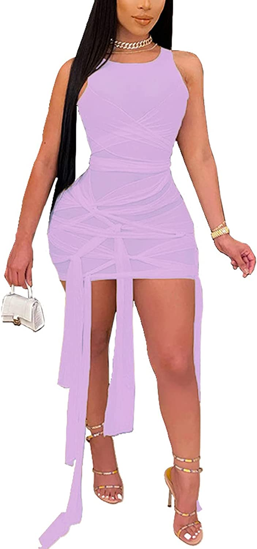 IyMoo Womens Sheer Mesh Bandage Dress - Sexy Sleeveless Bodycon Mini Party Club Dresses Summer