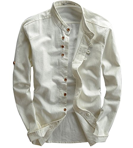 utcoco Men's Vintage Linen Stand Collar Button Up Shirt Long Sleeve (X-Large, White)