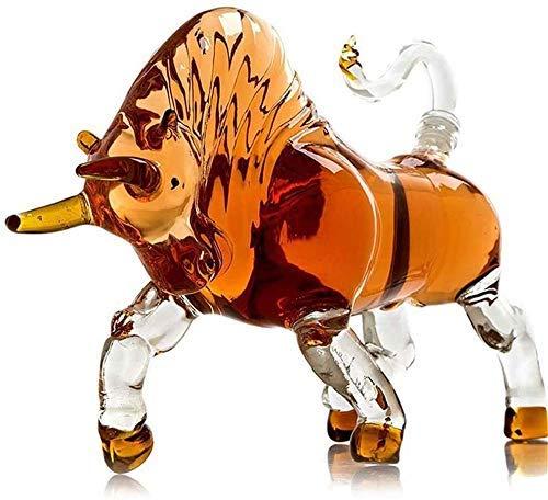 hermosa Whisky Decanter Whisky Gafas 12 Chino Zodiaco en forma de decantador Whisky Vidrio Decantador de vidrio resistente al calor Botella de vino Zodiaco Pollo sellado Botella de vino usada para la