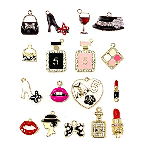 SUNEEY Assorted Gold Plated Enamel Lipstick Perfume Fashion Style Charm Pendant DIY for Necklace Bracelet Jewelry Making and Crafting, 17PCS , Not For Crocs
