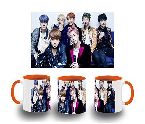 MERCHANDMANIA Taza Naranja BTS Boy with Luv Color mug