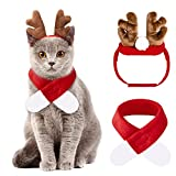 Ropa de Navidad para Mascotas,2 Piezas Traje de Navidad para Gatos,Ropa de Navidad para Perros,Disfraz de Navidad para Gatos,Diademas de Reno y Bufanda,Disfraz de Gato Navideño Disfraz de Perro