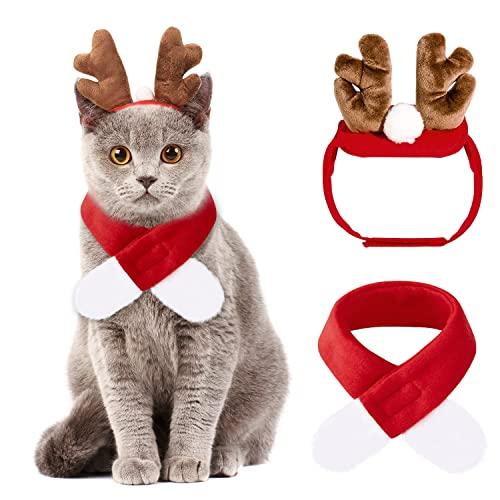 Weihnachten Haustier 2 Pcs ,Katzen Weihnachtskostüm,Kostüm für Katzen Weihnachten,Weihnachtsoutfit für Hunde,Rentier Stirnbänder&Schal Niedlich Roter Kostüm Anzug für Weihnachten Haustier Kopfschmuck