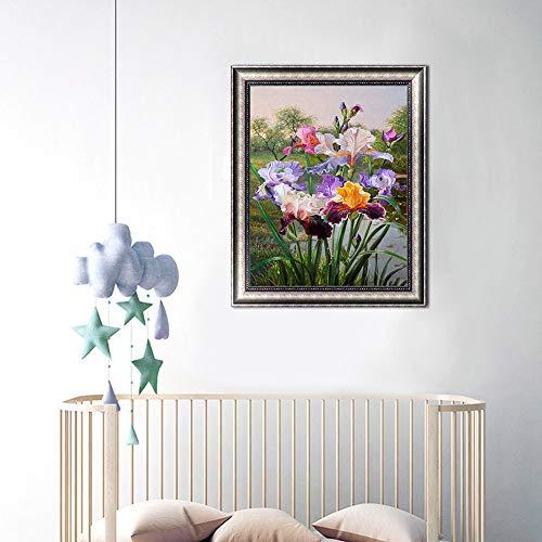 Wowdecor 5D Diamond Painting Kits, Colorful Iris Flowers, Full Drill DIY Diamond Art Cross Stitch Paint by Numbers (Iris)