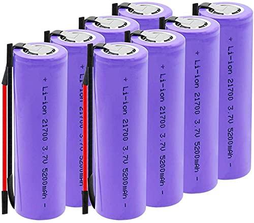 3.7V 5200Mah 21700 Batería De Iones De Litio Recargable Adecuada para Linterna Frontal Cámara Digital 8 Piezas