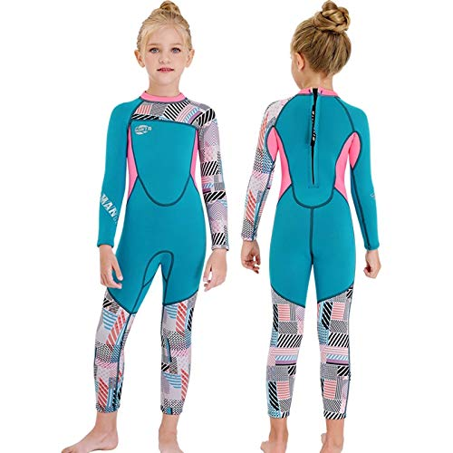 ZMMYD Traje de baño de Neopreno de 2,5 mm para niñas, Traje de baño de Retazos para niños, Traje de Buceo para niños, Traje de Surf con Medusas,Azul,XL