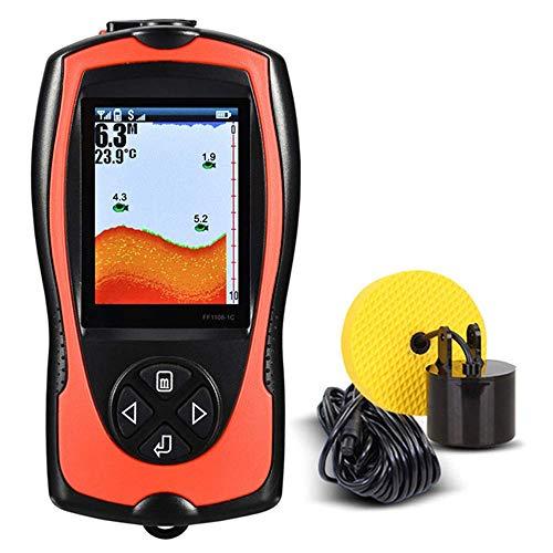 Kyman Touch-Screen-Fischfinder, drahtloser beweglicher Fisch-Sucher, 2,4-Zoll-Farb-LCD-2000mAh, 10-stufige Empfindlichkeitseinstellung 100m / 328ft Tiefe Capability, Integrierter Speicher