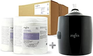 Zogics Antibacterial Wipes, EPA Registered Surface and Gym Equipment Disinfecting Wipes (2 Rolls, 1600 Wipes) + Wall-Mounted Upward Pull Wipe Dispenser