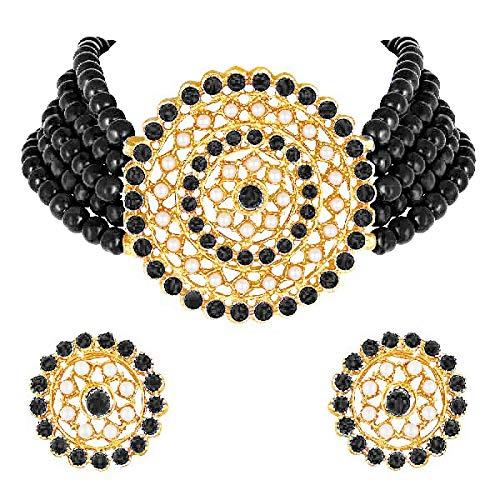 Aheli Gargantilla de diamantes de perlas con pendientes redondos para mujeres y niñas, juego de joyería tradicional india de Bollywood (negro)