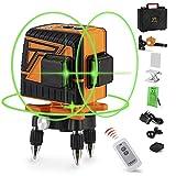 OMMO Laser croisé vert, laser croisé 3x360 avec lignes horizontales et verticales, laser croisé à nivellement automatique avec alignement manuel ou automatique, avec télécommande
