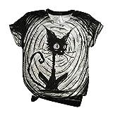 Camisetas de Halloween para mujer, diseño de gato negro, estampado de calabaza, manga corta, cuello redondo, suelto, casual, camisetas suaves, Gris-002, XS