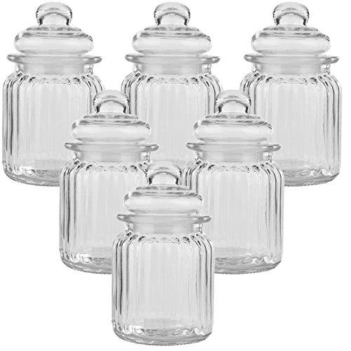 6er Set Luftdichte Vorratsdosen mit deckel Bonbonglas aus Glas Vorratsglas Bonboniere Vorratsbehäter Aufbewahrung 300ml - 13cm x 8cm x 8cm