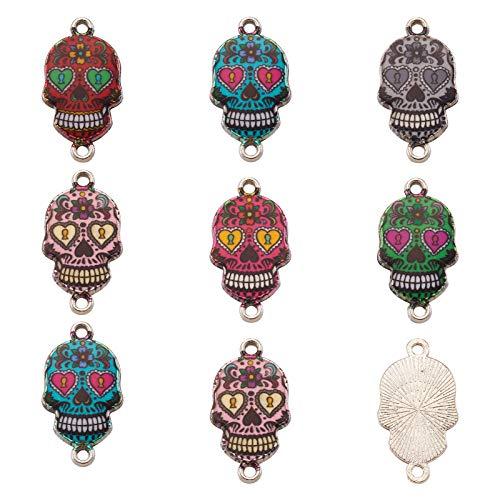 Cheriswelry Lot de 100 breloques en forme de tête de mort avec 2 trous - Connecteurs de bijoux colorés en émail - Pendentifs - Pour loisirs créatifs