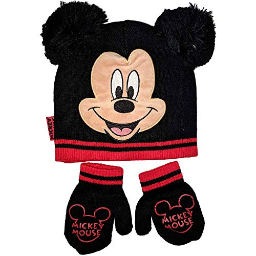 Disney Mickey Mouse Beanie Winter Hat and Mittens Cold Weather Set, Age 2-4