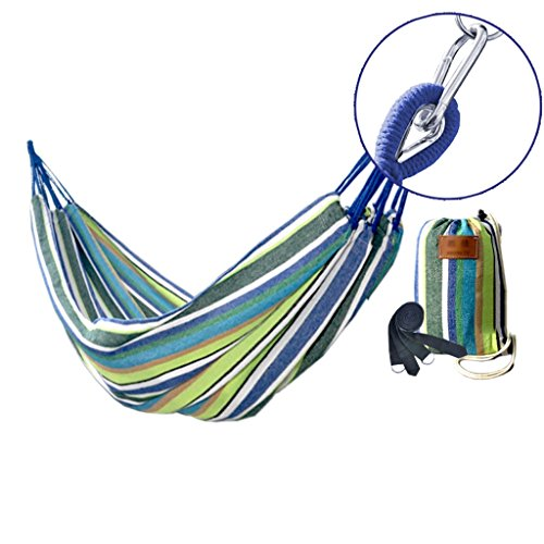 Y/d/j/ High-density Breathable Hammock Stands, Ultra-light Travel Hammock Outdoor Hardened Covered Hammock Can Bear 400 Pounds (blue And White Stripes)