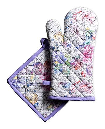 Maison d' Hermine Floral Love 100prozent Baumwolle Set aus Ofenhandschuh (19 cm x 33 cm) & Topflappen (20 cm x 20 cm) zum BBQ   Kochen   Backen   Mikrowelle   Grillen   Frühling Sommer