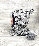 Schlupfmütze Waschbär grau,Mütze und loop, Jersey Fleece Gr 40-56 kindermütze, halssocke, mütze baby junge schalmütze