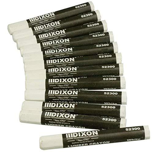 Dixon 52300 Lumber Marking Crayons, White, 12-Pack