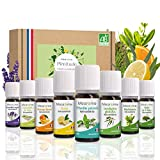 Coffret 8 x 10 ml Huiles Essentielles BIO distillées en FRANCE + Guide d'Aromathérapie - HEBBD - HECT - Kit pour Cuisine, Diffuseur - Bienfaits Respiratoires, Encombrement, Digestion - Mearome