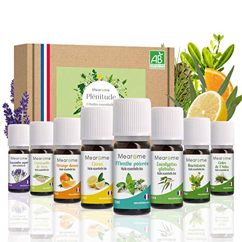 Coffret 8 x 10 ml Huiles essentielles BIO + guide d'aromathérapie - HEBBD - HECT - Kit pour cuisine, diffuseur - Bienfaits respiratoires, encombrement, digestion - Mearome - Fabrication Française
