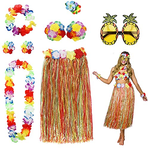 PHOGARY 8 Teilig Hawaii Mottoparty Kostüme Set, Hula Rock (Naturfarben), Blumenkette, Blume-Armbänder, Blumen-BH, Haarblume, Ananas-Sonnenbrille für Tikiparty Beachparty Deko (Bunt)