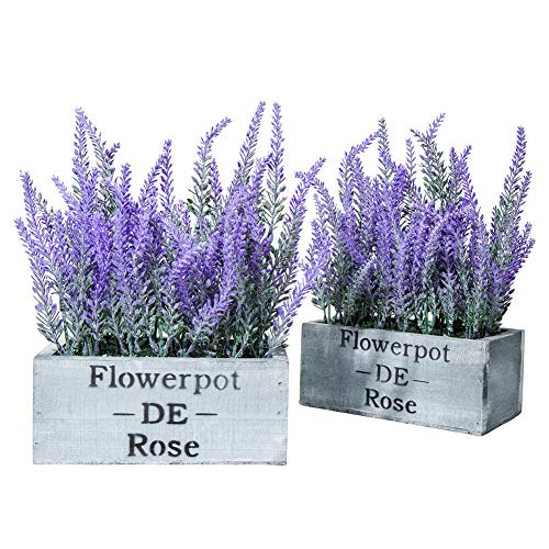 HUAMUK Artificial Flower Lavender Potted Plant with Silk Flower for Home Decor Wedding Garden Office Patio Decoration Table Centerpieces (Two Packs)