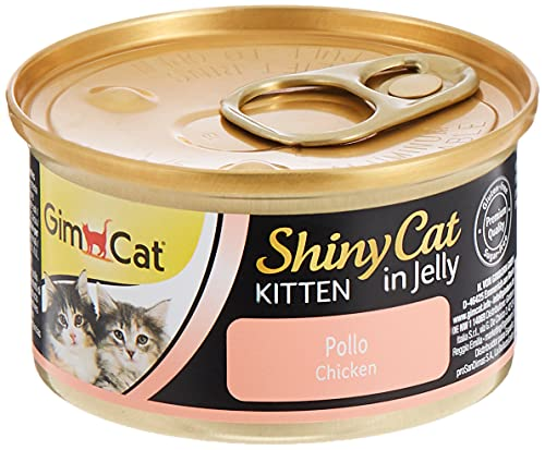 GimCat ShinyCat Kitten in Jelly, Pollo - Alimento húmedo para Gatitos jóvenes, con Carne y taurina - 1 Lata (1 x 70 g)
