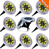 Dekugaa Solar Ground Lights, Upgraded Outdoor Garden Waterproof Bright in-Ground Lights for Lawn Pathway Yard Driveway, with 8 LED Warm White Lights(8Pcs) (White Color-8Pcs)