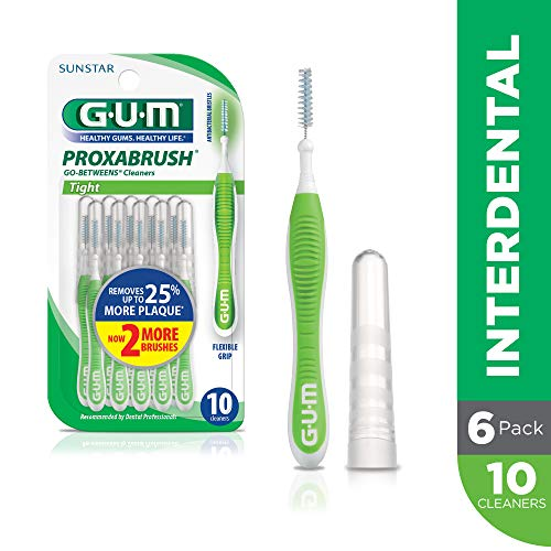 GUM Proxabrush Go-Betweens Interdental Brushes, Tight, 10 Count (Pack of 6)