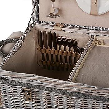 Nature by Kolibri Set de pique-nique pour 4 personnes avec panier de pique-nique, couverts, vaisselle