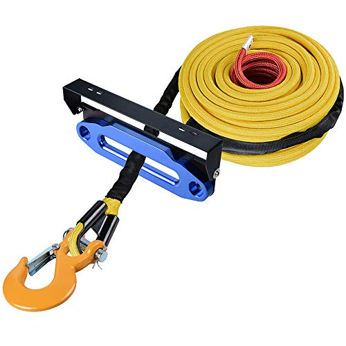 Buy Bargain Astra Depot 95ft x 3/8 inch Yellow Synthetic Winch Rope Protective Sleeve+ Yellow Clevis...