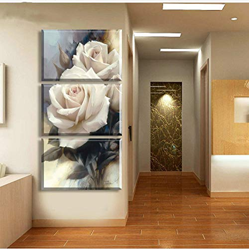 Swallow Cuadros de Flores de Rosa Blanca de Moda en Lienzo Pintura de Arte de Pared Modular de 3 Piezas para decoración del hogar de la Sala de estar-40x80cmx3 Piezas sin Marco