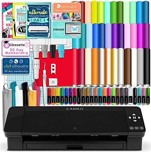 Silhouette Black Cameo 4 Starter Bundle with 38 Oracal Vinyl Sheets, T-Shirt Vinyl, Transfer Paper, Class, Guides and 24 Sketch Pens (Black) (Deluxe/Black)
