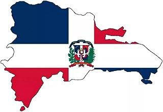 UYEDSR Pegatinas para coche, 2 unidades, diseño de mapa de la bandera de la República Dominicana, 13,2 x 9 cm
